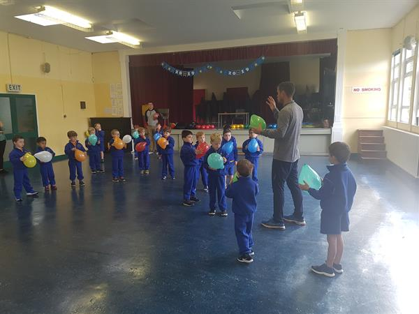 Junior Infants- First PE lesson- great excitement!