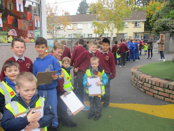 Junior Infants Nature Walk with the 4th class pupils